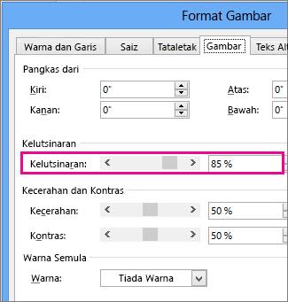 Petikan skrin kotak dialog Format Gambar dalam Publisher.