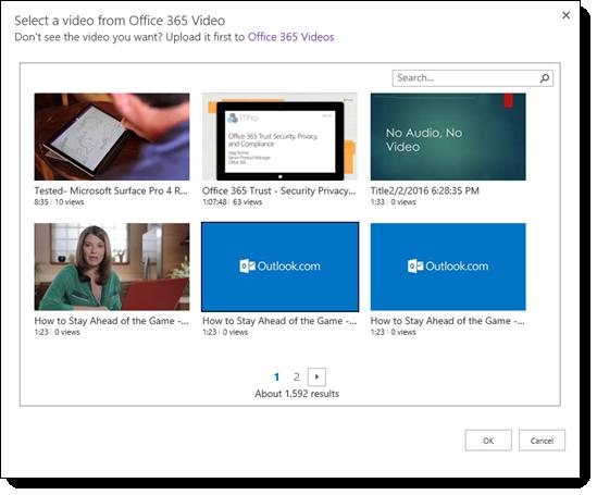 Pilih Video Office 365 Video untuk membenamkan