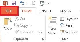 Klik FAIL pada bahagian atas kiri skrin anda.