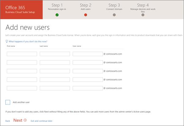 Petikan skrin dua pengguna baru yang ditambah dalam Bestari persediaan