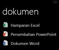 Dokumen Desktop dipaparkan pada Windows Phone apabila Office Remote sedang berjalan