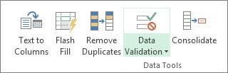 Pengesahihan data terletak dalam tab Data, Kumpulan alat Data