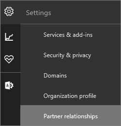 """Petikan skrin menu seting dengan """"Perhubungan rakan kongsi"""" diserlahkan"""