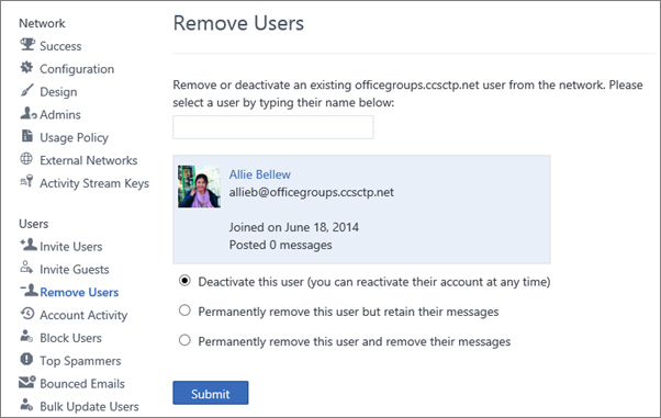 Petikan skrin menunjukkan cara untuk menyahaktifkan pengguna dalam Yammer