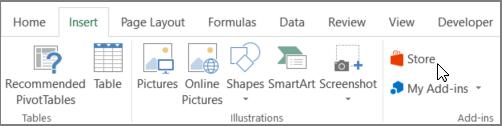 Petikan skrin Seksyen tab selitkan pada reben Excel dengan kursor yang menuding ke gedung. Pilih gedung untuk pergi ke gedung Office dan Cari tambahan untuk Excel.