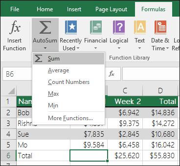 Anda boleh menggunakan Bestari Autojumlah untuk membina Sum formula secara automatik.  Pilih julat di atas/di bawah atau kiri julat untuk dirumuskan dan pergi tab Formula pada reben, kemudian pilih Autojumlah & jumlah.