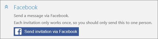 Dekat Seksyen Facebook Tambah seseorang kotak dialog dengan jemputan hantar melalui butang Facebook.