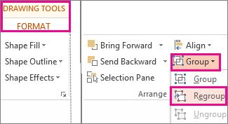Butang Kumpulkan Semula pada tab Format Alat Melukis