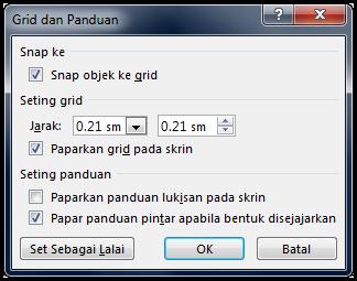 Kotak dialog Grid dan Panduan PowerPoint