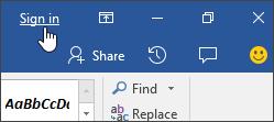 Petikan skrin menunjukkan Daftar dalam pautan dalam aplikasi desktop Office