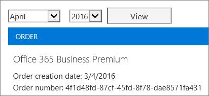 Petikan skrin halaman bil dalam Pusat Pentadbiran Office 365.