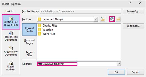 Menunjukkan kotak dialog dengan opsyen untuk menyelitkan pautan pada laman web yang dipilih