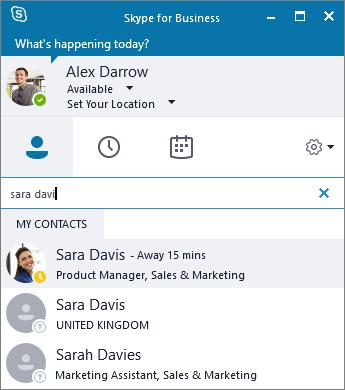Petikan skrin anak tetingkap Skype for Business semasa mencari kenalan untuk menambah.