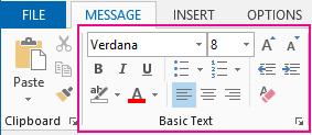 Kumpulan teks asas dalam reben mesej