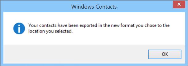 Anda akan melihat mesej akhir bahawa kenalan anda telah dieksport ke fail csv.