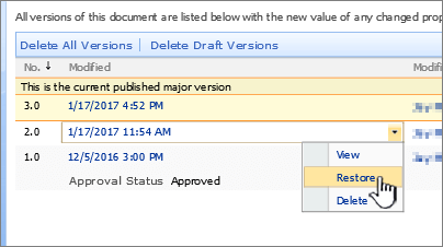 Pemversian juntai bawah pada fail dengan Pulihkan diserlahkan