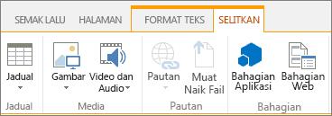Petikan skrin butang Bahagian Aplikasi pada tab Selitkan