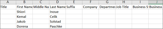 Contoh fail .csv Outlook yang dibuka dalam Excel