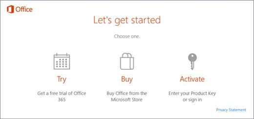Petikan skrin yang menunjukkan cuba lalai, membeli atau mengaktifkan opsyen untuk PC yang disertakan bersama Office yang dipasang terdahulu.