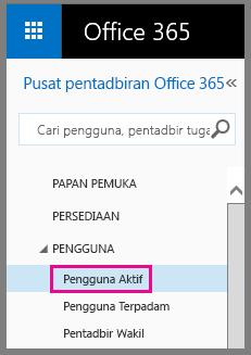 Petikan skrin menu Pengguna dengan Pengguna Aktif diserlahkan.