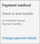 Petikan skrin Seksyen kaedah pembayaran Kad langganan untuk langganan yang dibayar dengan invois.