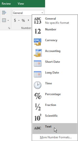 Dalam Excel, pada tab rumah, dalam Kumpulan nombor, pilih anak panah ke bawah dalam kotak umum untuk memilih format nombor untuk digunakan.
