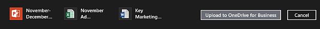Bar tindakan dengan topik yang dipilih untuk dimuat naik ke OneDrive for Business
