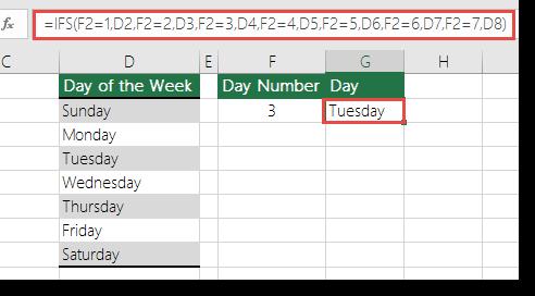 Fungsi IFS - hari contoh minggu - Formula dalam sel G2  =IFS(F2=1,D2,F2=2,D3,F2=3,D4,F2=4,D5,F2=5,D6,F2=6,D7,F2=7,D8)