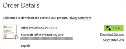 Menunjukkan butang pasang dalam butiran pesanan daripada Home Use Program
