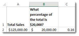 $125,000 dalam sel A2, $20,000 dalam sel B2 dan 0.16 dalam sel C3