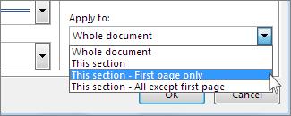 Senarai untuk memilih halaman yang menunjukkan sempadan