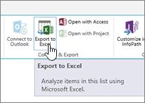 SharePoint butang eksport ke Excel pada reben yang diserlahkan
