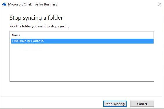 Petikan skrin bagi kotak dialog hentikan penyegerakan folder