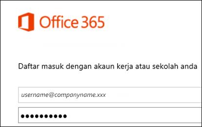 Skrin daftar masuk portal Office 365