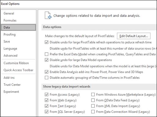 Opsyen data telah dialihkan dari fail > Opsyen > lanjutan Seksyen pada tab baru yang dipanggil Data di bawah fail > Opsyen.