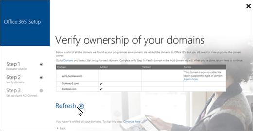 Selepas anda mengesahkan domain anda, pilih Segar Semula
