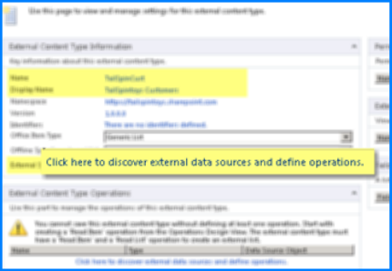 Petikan skrin panel Maklumat Jenis Kandungan Luaran dan pautan Klik di sini untuk mencari sumber data luaran dan mentakrifkan pengendalian, yang digunakan untuk menyambung BCS.