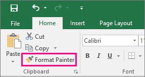 Menunjukkan butang Pelukis Format dalam Excel