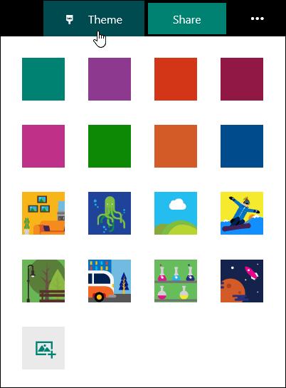 Galeri tema untuk Forms Microsoft.