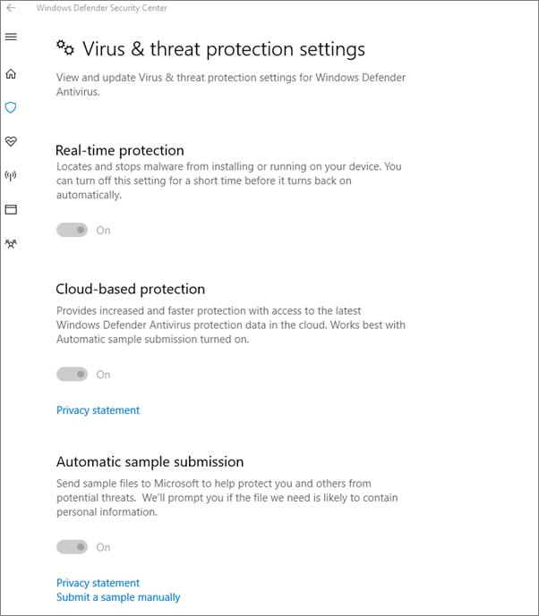 Seting perlindungan Virus dan ancaman adalah dikelabukan.
