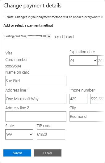 Halaman butiran Bayaran untuk mengemas kini maklumat kad kredit.