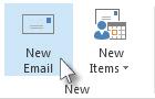 Perintah E-mel Baru pada reben