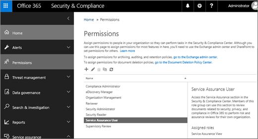 Petikan skrin halaman Keselamatan & keizinan Pusat pematuhan dengan perkhidmatan pengguna jaminan yang dipilih.