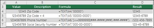 Format khas untuk fungsi teks