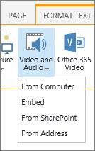 Menyelitkan Video atau audio butang dalam reben edit