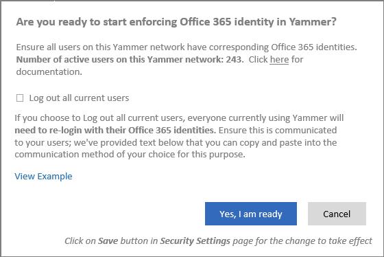 Petikan skrin kotak dialog pengesahan yang menunjukkan bilangan pengguna aktif dalam rangkaian Yammer.