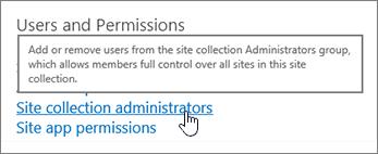 Pentadbir koleksi laman yang diserlahkan di bawah pengguna dan keizinan