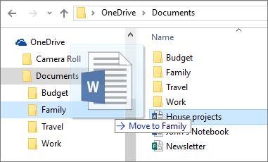 Petikan mengalihkan fail ke folder yang berbeza dalam OneDrive.