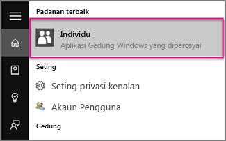 Taipkan Individu dalam Windows 10
