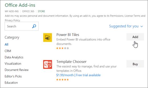 Petikan skrin halaman tambahan Office yang anda boleh memilih atau Cari tambahan untuk Excel.